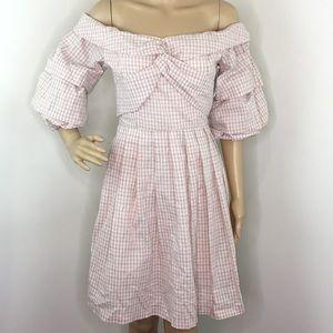 Chriselle J.O.A. Pink Off The Shoulder Dress